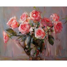 Картина-раскраска по номерам «Розы в вазе» 40*50 см