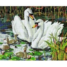 Алмазная мозаика «Семья лебедей» 40*50 см