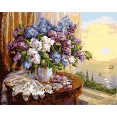 Картина-раскраска по номерам «Сирень на столе» 40*50 см