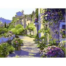 Картина-раскраска по номерам «Сиреневая улочка» 30*40 см
