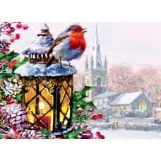 Картина-раскраска по номерам «Снегирь на рождественском фонаре» 40*50 см