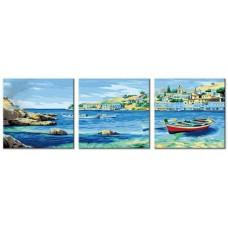 Картина-раскраска по номерам «Средиземноморская бухта» (триптих) 3 картины 40*50 см