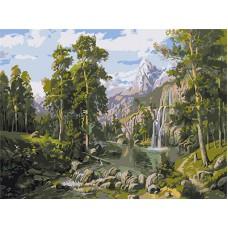 Картина-раскраска по номерам «Таежный водопад» 30*40 см