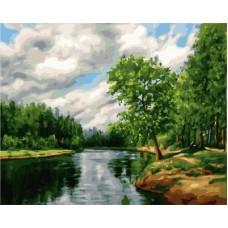 Картина-раскраска по номерам «Тихая речка» 40*50 см