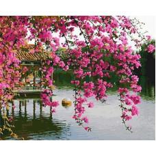 Картина-раскраска по номерам «Цветущая сакура в саду» 40*50 см