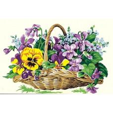 Картина-раскраска по номерам «Цветы в корзине» 30*40 см