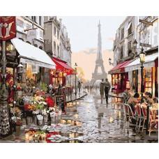 Картина-раскраска по номерам «Улица к Эйфелевой башне» 40*50 см