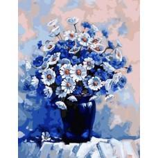 Картина-раскраска по номерам «Васильки с ромашками» 40*50 см