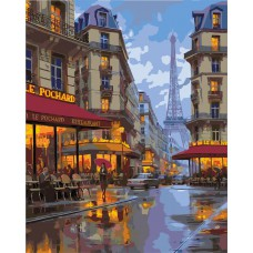 Картина-раскраска по номерам «Вечером в Париже» 40*50 см