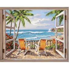 Картина-раскраска по номерам «Веранда у моря» 40*50 см