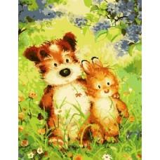 Картина-раскраска по номерам «Верные друзья» 30*40 см
