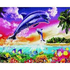 Алмазная мозаика «Веселые дельфины» 40*50 см