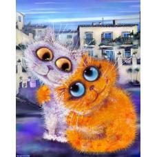 Картина-раскраска по номерам «Влюбленные кошки» 40*50 см