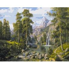 Картина-раскраска по номерам «Водопад в горах» 30*40 см