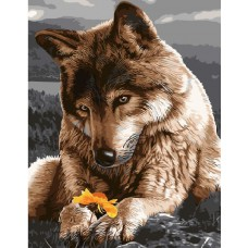 Картина-раскраска по номерам «Волк хранит цветок» 40*50 см