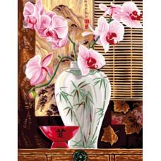 Картина-раскраска по номерам «Восточная орхидея» 30*40 см