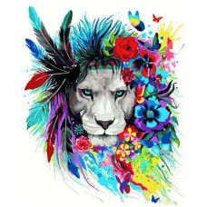 Картина-раскраска по номерам «Яркий лев» 40*50 см